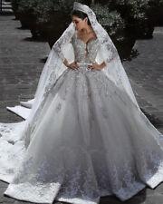 Luxury Crystals Ball Saudi Bridal Gown lace-long sleeves Arabia Wedding Dresses