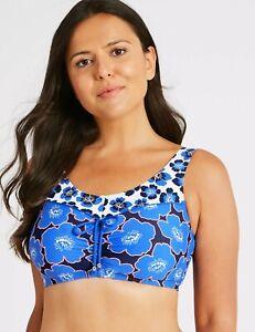 Lovely BNWT M&S Post Surgery blue floral print bikini top 16 20
