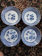 RUSKIN Cauldon England BWM & Co (4) Soup Salad Bowl FLOW BLUE RARE 7-7/8 Wide