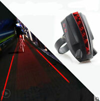 Cycling Bike Bicycle Intelligent Laser Rear Light 5 LED Tail Lamp +2 Laser Beams