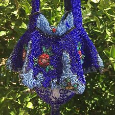 Antique Beaded Blue Handbag Reticule Dance Purse Drawstring Glass Beads Tassel