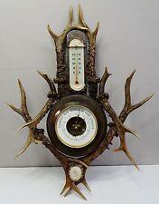 Antike Jäger Wetterstation - Barometer + Thermometer mit Horn Geweih Hirschhorn