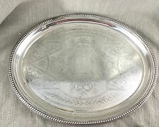 Large Tray Vintage Antique Engraved Oval Silver Plated Serving Plate Victorian