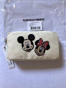 """NWT Stoney Clover Buttercream Small Pouch w/ 3"""" Mickey & 3"""" Minnie Patches"""