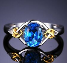 White gold finish Love Knot 1.5ct Natural Blue Topaz created Diamond ring