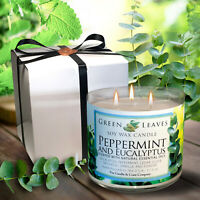 Handmade, 3 Wick Soy Candle Peppermint And Eucalyptus. Free Gift Box Included!