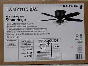 Stoneridge 52 in. Matte Black Hugger LED Ceiling Fan w/ Light Kit by Hampton Bay