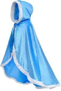 Frozen Queen Elsa Princess Hooded Cape Cloak Cosplay Costume for Girls Dress Up