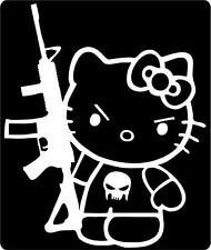 Hello Kitty Punisher with Gun Window Vinyl Car or Truck Decal Sticker Very Cute