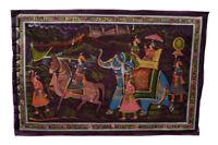 Parete Pittura Mughal Su Seta Arte Scena Di Vita India 71x46cm 14