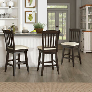 Counter Stool Slat Back Solid Wood Swivel Chair Antique Black Kitchen Bar Dining