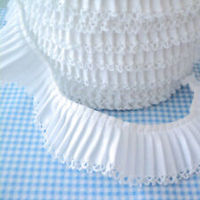 PLAIN PLEATED GATHERED picot / lace edge FABRIC TRIM  RIBBON cotton blend fabric