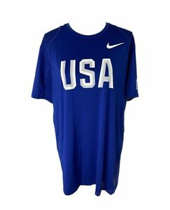 Mens size XL Nike pro Dri-fit fitted USA blue athletic short sleeve T-shirt