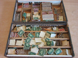 Estate collection 2 cigar boxes full loose early US & Canadian Stamps 100's!!
