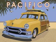"""Travel sign w Woody, """"Pacifico"""" giclee open ed, Vintage Sign - Recreated 18x24"""