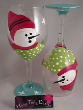 2 Hand-Painted Snowman Red Hat Wine Glasses
