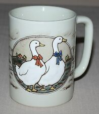 Otagiri Mug White Geese Goose Textured Embossed Incised