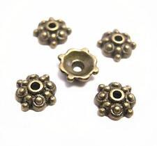 24pc 8mm antique bronze finish metal bead cap-8322