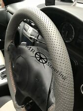 FOR LEXUS RX 98+ GREY PERFORATED LEATHER STEERING WHEEL COVER BEIGE DOUBLE STCH
