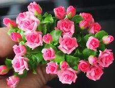 10 Pcs Miniature Pink Rose Handmade Clay Flowers Home Decorative Collectible New