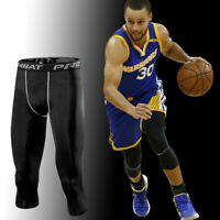 Men Compression Pants Capri Base Layer Leggings Sports Gym Trousers Basketball F