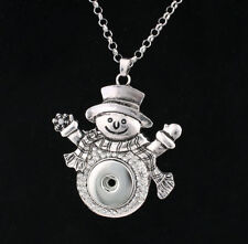 3D Crystal Snowman Charm Drill Key Pendant Necklace Fit 18mm Noosa Snap Button