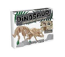 TRICERATOPO: il Professor Puzzle Dinosauro COSTRUZIONE Legno Kit 3D + LIBRO di attività