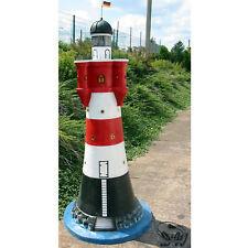LEUCHTTURM ROTER SAND 185 cm rot-weiß Garten Deko Figur DOPPELLICHT maritim MEER