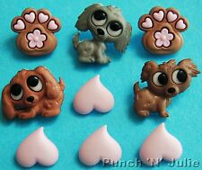 PUPPY LOVE - Dog Show Pet Paw Heart Animal Novelty Dress It Up Craft Buttons