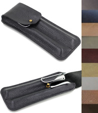 fountain pen storage bag Genuine cow Leather Customize handmade case black z182