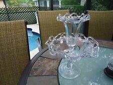 Vintage Glass Epergne 2pc Crocheted Crystal Design-Excellent