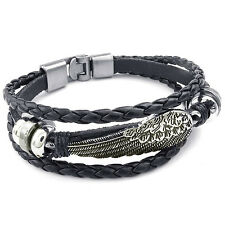 MENDINO Mens Alloy Leather Bracelet Woven Braided Angel Feather Wing Clasp Black