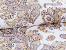 0,5 M Cotton Satin Fabric Vintage with Pasley Pattern Gold Braun on White