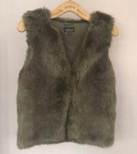 Topshop Fur Gilet Size 8 Khaki Green Coat Jacket Waistcoat Sleeveless Faux Boxy