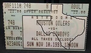 1991 Houston Oilers Vs Dallas Cowboys Upper Reserved Astrodome Ticket Stubb