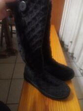UGG Australia Black LATTICE Cardy Knit Tall Sweater Boots Women'S sz 7