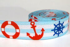 "3 yards of FOE 5/8 inch ""anchor"" fold-over elastic ribbon"