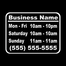 Business Hours Style 1 Size 10x13 Store Window Vinyl Decal Sticker