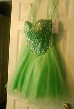 Nwt womens jr homecoming prom formal short dress sz m beading mint green