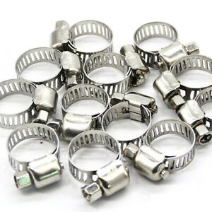 """10 x 3/8""""-5/8"""" Stainless Steel Drive Hose Clamp Fuel Line Worm Clip Adjustable"""