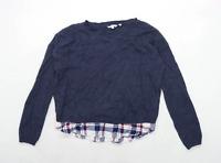 Fat Face Womens Size 14 Cotton Blend Grey Under Shirt Jumper (Regular)