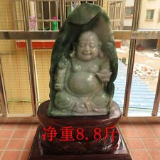 China Natural jadeite emerald Jade Ru Yi Maitreya Buddha Statue sculpture
