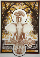 "William Marlow ""African Marathon"" Hand Signed Serigraph & Etching Art elephant"