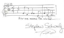 Stephen Schwartz Hand written and SIGNED No One Mourns Wicked Music Index Card 1