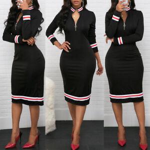 Women's Casual Zip Front Patchwork Dress Party Bodycon Pencil Midi Long Dresses