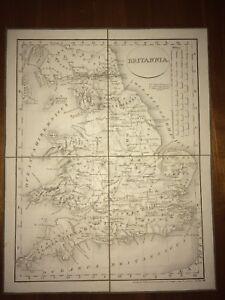 BRITANNIA ANCIENNE. CARTE PLIÉE ET TOILÉE DE 1819.