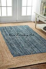 5 x 8 Ft Jute Denim Cotton Braided Reversible Handmade Decorative Carpet Rag Rug