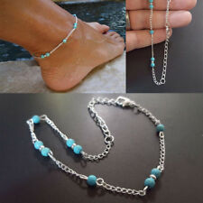 Ankle Bracelet Foot Jewellery Turquoise Beads Silver Tone Bohemian Ladies Womens