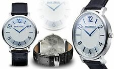 NEW Paul Perret 14053 Men's Leon Collection Swiss Ronda Movt Blue Accented Watch