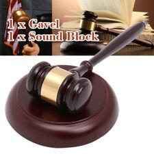 Wooden Handcrafted Hammer Hardwood Gavel + Sound Block for Lawyer Judge Auction